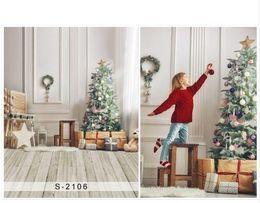 2019 pano de fundo de vinil Sala de natal pano de vinil Xmas árvore de madeira piso fotografia backdrops para crianças fotografia photo studio portrait backgrounds pano de fundo de vinil barato