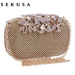 SEKUSA bolso de noche de cristal de cristal bolsos de embrague embragues bolso de boda diamantes de imitación bolsos de boda plata / oro / negro bolso de noche Y1891204 desde fabricantes