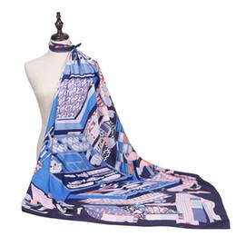 Cajas de satén de seda online-Nueva llegada de moda mujeres de satén suave bufanda de la marca / caja de herramientas caja de cosméticos Impreso quare twill pañuelos de seda 130 cm / Regalos al por mayor