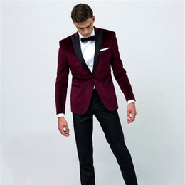 Wholesale White Tuxedo Evening Wedding Groom - New Fashion Burgundy Wedding Suits Groom Tuxedos Black Peaked Lapel Trim Fit One Button Two Piece Men Evening Party Suits (Jacket+Pants+Tie)