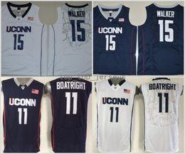 Wholesale Uconn Basketball - 2017 Kemba Walker Uconn Huskies College Basketball Jerseys Navy Blue 15 Kemba Walker 11 Ryan Boatright Stitched University Basketball Jersey