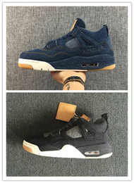 Wholesale denim jeans for women - IV 4 Denim blue Jeans Travis basketball Sports Sneakers for Men women 4S black jeans Trainers Shoes,with box