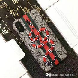 CASO PER IPHONE 11 11Pro XR XS modello Max 7 6 6S 7plus grande marca ricamo Tiger Snake animale ape Mobile Shell copertura posteriore dura iPhone8plus da