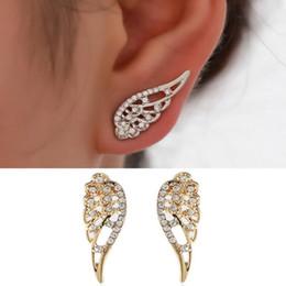 diamante opale nero Sconti New Wings Orecchini a lobo per le donne Punk Silver Gold Angel Wings Orecchini design semplice Hiphop Fashion jewelry