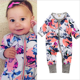Wholesale Baby Girl Bodysuits - INS Newest Baby Girls Rompers 2018 Hot Sale One-Piece Rompers Longe Sleeve Romper Infant Cotton Clothes Onesies Kids Bodysuits Fast Shipping