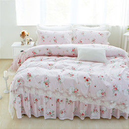 Wholesale Pink Black Crib Bedding - 12 Colors 100% Cotton Lace edge Girls Bedding set Floral Print King Queen Twin size Bed skirt set Pillow shams