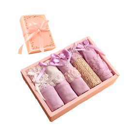 Wholesale Panty Designs - 2018 Valentines Day Gift Box Packaging Satin Cotton Cute Best Cool In Panties Lace Panty Pink Short Asian Design Japanese Girl Briefs