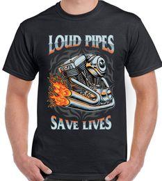 Pipes pour hommes en Ligne-Des tuyaux bruyants sauvent des vies T-shirt motard drôle