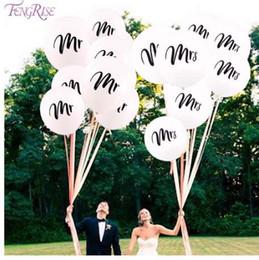 globo de la novia Rebajas FENGRISE 10 unids Impreso Negro Mr Mrs Just Married Latex Balloons Bride to Be Balloon Ducha Nupcial Decoración Fiesta Globo de Aire