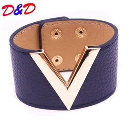 Wholesale Ms Word - Europe And The Big Leather Bracelet Simple All-Match MS OL V Word Wide Leather Bracelet 2017 New Hand Jewelry