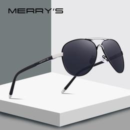 b86dc4eb678 MERRY S Men Classic Pilot Sunglasses HD Polarized Aluminium Occhiali da  sole Luxury Tonalità UV400 S 8513