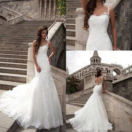Wholesale Cheap White Church Dresses - 2018 Modest Lace Sexy Mermaid Wedding Dresses Formal Girls Spaghetti Straps Chapel Train Church Trumpet Bridal Dress Gowns Plus Size Cheap