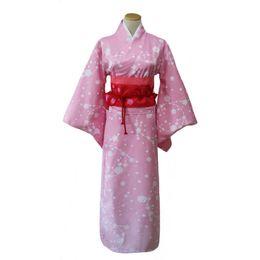 Argentina Pink Lady Kimono con Obi Japanese Yukata Girl Anime Cosplay Ropa Disfraz de Halloween Performance Robe Bata cheap traditional clothes pink Suministro