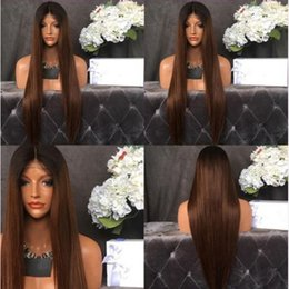 Wholesale Wigs For Ladies - MHAZEL long natural looking straight middle part dark roots 1b#ombre #30 synthetic glueless wig for lady woman