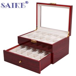 Wholesale Wood Lacquered Box - SAIKE 20 Grids Watch Display Box Lacquer Wood MDF Multifunction Watches Box Holder Case for Expensive Jewelry Watch Storage
