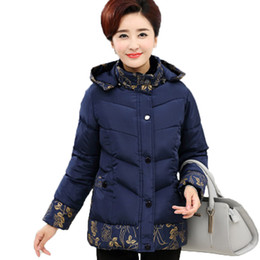 middle aged plus size clothing Promo Codes - Winter cotton jacket middle age elderly women cotton coat winter mother clothing print thick wadded jacket plus size
