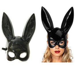 cosplay cat face mask Promo Codes - New Halloween Adult Rabbit Mask Masquerade Black White Bunny Long Ears Mask Carnival Costume Party Mask Cosplay Props For Women Man