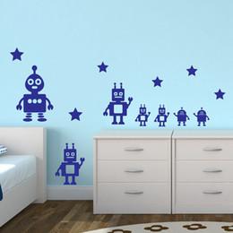 Wholesale Vinyl Transfer Stickers - Toy Robots Wall Sticker Children Bedroom Vinyl Decal Transfer Decoration Boys Free Shipping