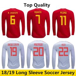 Maillot manches longues espagne en Ligne-2018-2019 PEDRO Espagne Long Jersey ISCO RAMOS A.INIESTA Maillot Manches Longues MORATA ASENSIO DIEGO COSTA Maillot Manches Longues