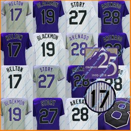 Wholesale Colorado Shorts - Colorado 25th Season Baseball Jersey Nolan Arenado Trevor Story Todd Helton Charlie Blackmon Jerseys White Grey Purple