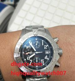 Wholesale 48mm Quartz - Top High Quality Watch 48mm SuperAvenger A13371 Black Dial VK Quartz Chronograph Working Stainless Steel Men's Watch Watches