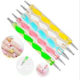 Wholesale Nail Dot Painting Tools - 5pcs set 2way Dotting Pen Marbleizing Tool Nail Polish Paint Manicure Dot Nail Art Set CCA9478 100set