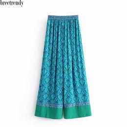 pantalones anchos con estampado vintage Rebajas K813 mujeres vintage patrón de impresión cintura elástica pierna ancha pantalones casuales señoras retro pantalones de otoño