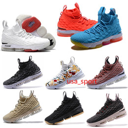 Wholesale Ash Black Sneakers - 2018 newest JaMes 15 Basketball Shoes Ashes Floral Ghosts Unveils sports high quality lbj15s white black red man Sneakers