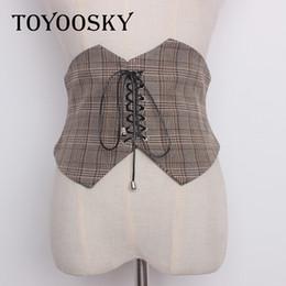 2019 cintos de corset de moda larga Moda Senhoras Verificação Do Vintage Estilo Cinto de Super Grande Tecido Ajustável Camisa Emagrecimento Espartilho Cinto Cummerbund Cinturão TOYOOSKY desconto cintos de corset de moda larga