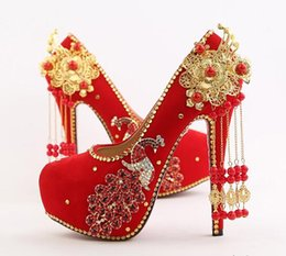 Wholesale Taiwan Dresses - Hot! red Bridal shoes overheight with Waterproof Taiwan Rhinestone Phoenix Flowers Suede Round head Women's shoes Wedding shoes