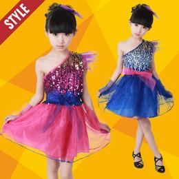 Wholesale girls dancewear sets - Latin Dance Dress Girls Party Dance Costume Perform Children Christmas Halloween Gift Sequins Tasseled Salsa Latin Dancewear Kids set