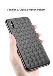 Wholesale Slim Cell - For iPhone 6 6S 7 8 Plus X Cell Phone Case Knit Leather Lines Woven Texture Slim Ultra-thin TPU Fashion Back Cover Case
