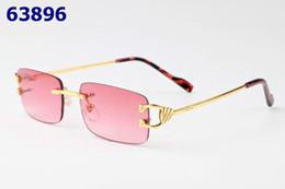 Rectángulo sin gafas de sol online-Rectángulo gafas de sol mujer Buffalo Horn gafas de sol unisex sin marco pequeño Rectangular Buffalo Horn gafas marco de metal diseñador de lujo