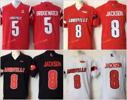 cardenales jerseys negro Rebajas Barato para hombre universitarios Louisville cardenales cosidos 8 Lamar Jackson 5 Bridgewater rojo negro blanco fútbol Jerseys