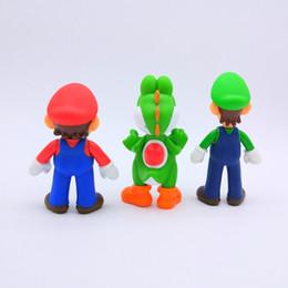 Wholesale yoshi game - Cartoon Super Mario Bros Model High Quality PVC Luigi Yoshi Doll Classic Game Action Figure Toy Ornament For Kid 7 5fh YY