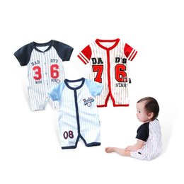 Wholesale Baby Bodysuits Short Sleeve - Baby Rompers Summer Baby Boys Girls Clothes Striped Newborn Baby Jumpsuit Short-sleeved Infant Jumpsuits Clothing Set Cotton Bodysuits