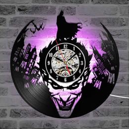 Canada Joker CD Record Horloge Murale 3D Vinyle Classique LED Éclairage Horloge Mur Décoratif Suspendu Art Décor Horloges cheap antique style wall lights Offre