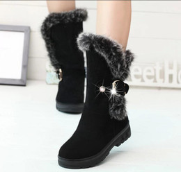 Wholesale Russian Women Sale - hot sale Women's snow boots thick plush warm Russian national favorite winter cold fashion cotton boots