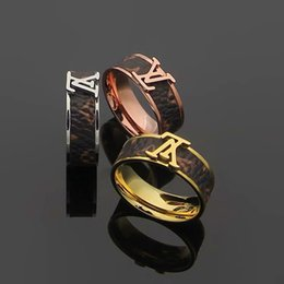 music circle Coupons - 2019 Fashion Popular European and American Jewelry Brand Designer Stainless Steel Tone leather letter L men women wedding rings