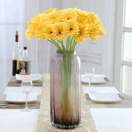 bouquet vase Coupons - Artificial Silk Flower Lifelike Simulation Daisy Fake Decorative Flowers Multi Color Vase Interior Bouquet New Arrival 1 6lx KK