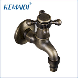 Wholesale brass wash sink - KEMAIDI Bathroom New Washing Machine 360 Antique Brass Single Cold Wall Mounted Wash Basin Sink Bathroom Tap Faucet 2009F