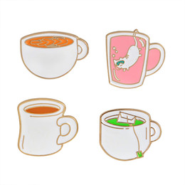 Wholesale Coffee Children - Cute Cat Coffee Cup Tea Cup Brooch Pins Enamel Suit Shirt Lapel Pin for Women Children Wedding Gift Drop Shipping