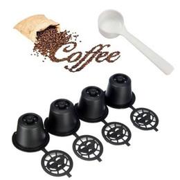 2019 passoires à thé nouveauté 4x capsules de capsules de café réutilisables réutilisables pour les machines Nespresso café filtre à thé panier outils avec cuillère en plastique