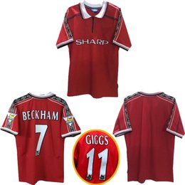 Wholesale beckham jerseys - Thai quality 1998 1999 Man Unite retro soccer jerseys 1998 1999 BECKHAM Giggs football shirt 1998 1999 Man Unite Legendary retro jersey