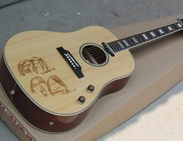 Wholesale Guitar Top Wood - Factory Custom 41'' Acoustic Guitar wtih Natural Wood Color Body,Solid Top,Rosewood Fretboard,Can Add Pickups,Can be Changed
