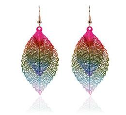 Wholesale double tassel earrings - fashion Luxury boho Double color Leaf Dangle earrings Vintage Leaves long tassels drop Earring for women Jewelry