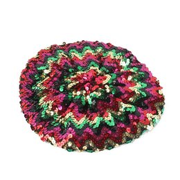 Bérets à paillettes en Ligne-Nouvelle mode Sequins casquettes femmes Beanie fille béret scintillement de mode chapeau de fête Festival scène spectacle chapeau Bling Bob Hip Hop Bonnet chapeau bob