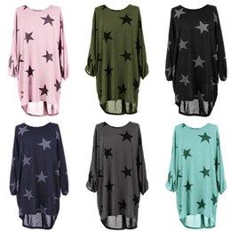 Wholesale Oversized Womens Shirts - 2018 New Fashion BRAND NEW STYLE Womens Stars Printing Oversized T-Shirt Ladies Summer Tops Blouse Dress S-XL
