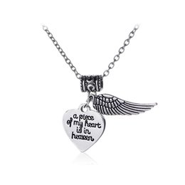 Wholesale Statement Pieces Wholesale - New statement necklaces a Piece of My Heart Is In Heaven necklace Letter heart wings necklace