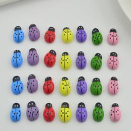 Wholesale Wooden Ladybug - 20pcs DIY handwork Home Party Holiday refrigerator Decoration Children kids toys Wooden Ladybird Ladybug Wall Sticker